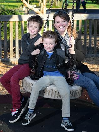 Charlotte Squire with her boys Jake and Blake. Picture: David Cronin.