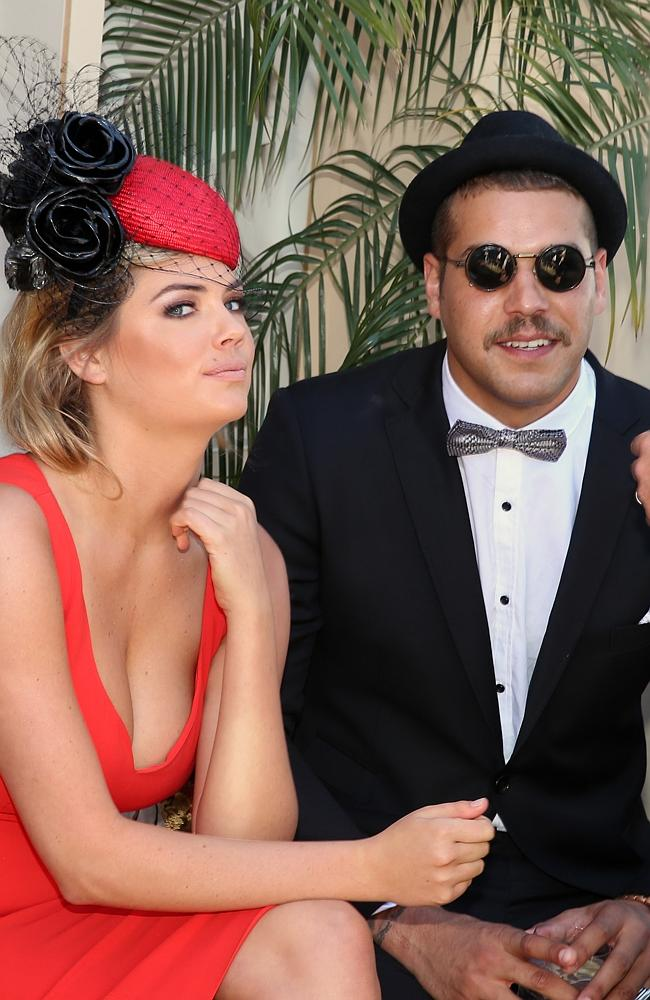 2013 Melbourne Cup Day at Flemington Racecourse. Kate Upton and Lance Franklin. Pic by Alex Coppel.