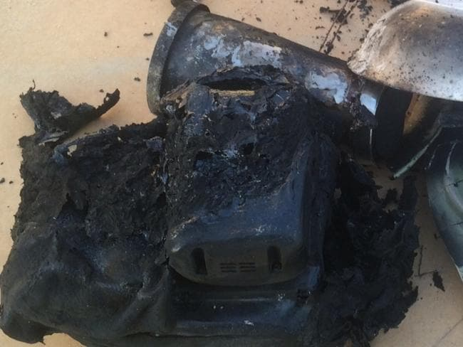 Renae Farrington didn't expect this to happen to her Hitachi Power Tool battery charger. Picture: Choice