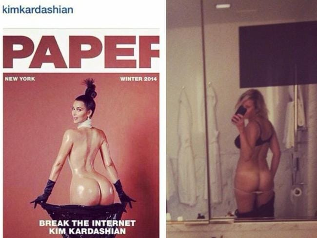 Chelsea Handler had a crack at copying Kim's Paper cover. Picture: Instagram TITLE: Amy Schumer rips on the Kardashians