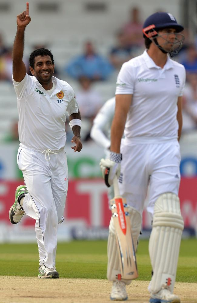 Sri Lanka's Dhammika Prasad sends Alastair Cook on his way in the first innings at Headingley.