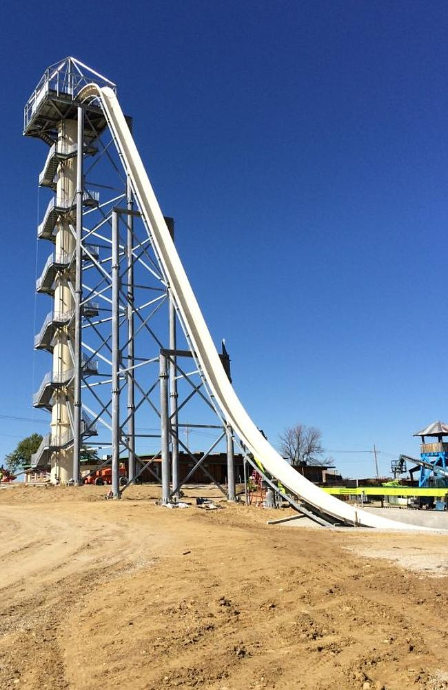 The breathtakingly high Verruckt waterslide is scheduled to open in May.