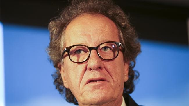 Geoffrey Rush at today's press conference in Melbourne. Picture: AAP