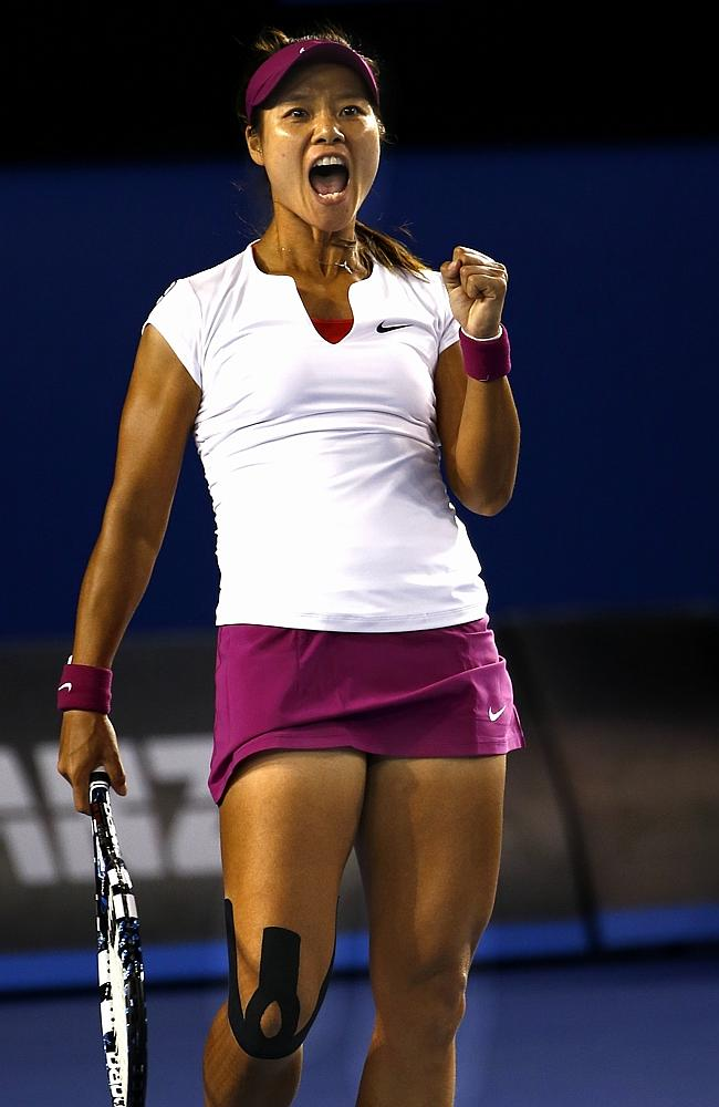 Li Na is pumped up after winning the first set. Picture: Michael Klein