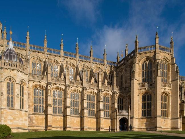 St George's Chapel at Windsor Castle, where Harry and Meghan will share their first kiss. Picture: AFP