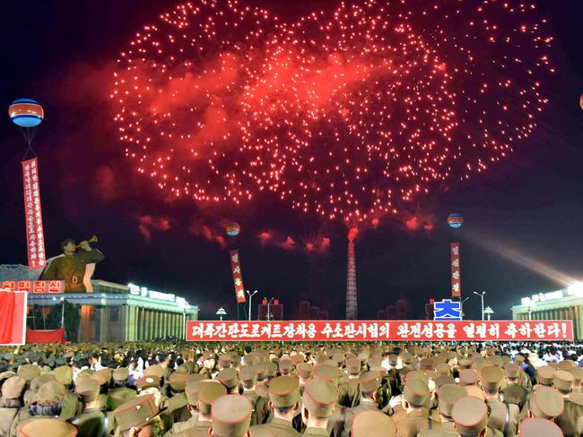 A fireworks displaying for Pyongyang residents and military marked the test of a hydrogen bomb in September. Picture: KCNA via KNS