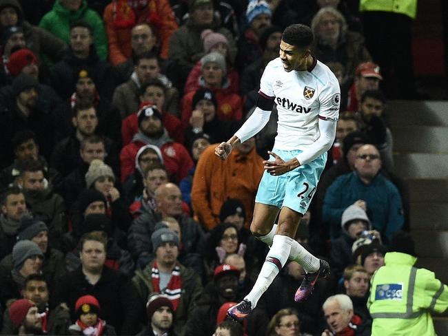 West Ham United's English striker Ashley Fletcher celebrates.