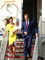 Prince William, Duke of Cambridge, Catherine, Duchess of Cambridge and Prince George of Cambridge arrive at Sydney Airport on RAAF B737 in Sydney. Picture: Getty