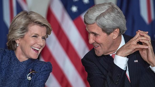 Australian Foreign Minister Julie Bishop and US Secretary of State John Kerry speak during a press conference on November 20 at the US Department of State in Washington, DC. Picture: AFP Photo/Paul J. Richards