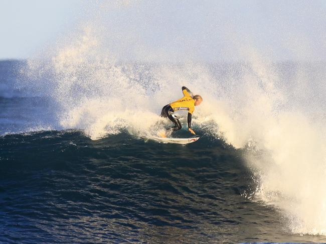 Owen Wright lost his leader's yellow jersey after John John Florence took out the men's event. Picture: AAP/Matt Dunbar