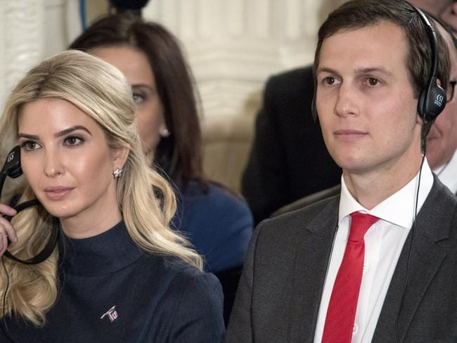 Jared Kushner with his wife Ivanka Trump, the daughter of Donald Trump, attend a news conference in the East Room of the White House. Picture: Andrew Harnik/AP