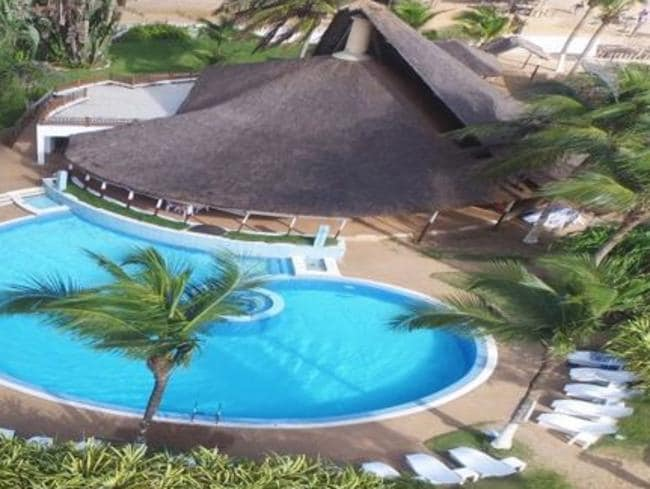 An overhead view of Etoile du Sud, the oceanfront resort stormed by jihadists in Grand Bassam.