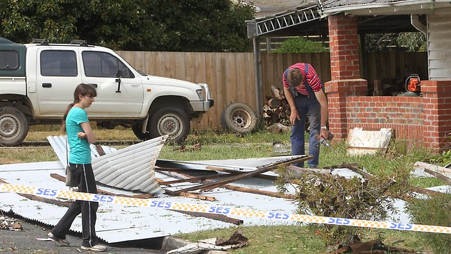 Roof blown off a house in Mt Clear near Ballarat. Picture: Rob Leeson
