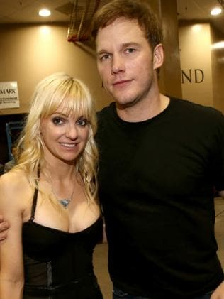 A slimmer Chris Pratt and wife Anna Faris. Picture: Getty