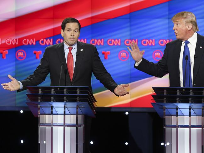Republican presidential candidates Marco Rubio Donald Trump argue.