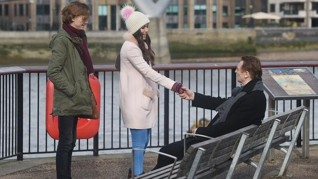Liam Neeson, Thomas Brodie-Sangster and Olivia Olson seen filming a Love Actually sequel. Picture: FameFlynet/BackGrid