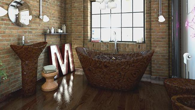 The chocolate bathroom. Picture: Bathrooms.com