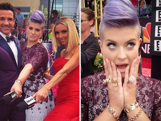 "Behind The Scenes Emmy Awards 2014... Television personality Kelly Osbourne posts, ""Here we go wish is luck!!! @giulianarancic @georgekotsi #eredcarpet... Obsessed with my Gold #beladora jewelry provided by @lovegoldlive"" Picture: Instagram"