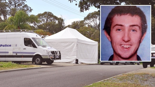 West Australian police cordon off the Orelia home where the body of Aaron Pajich (inset) was found under a newly laid concrete slab.