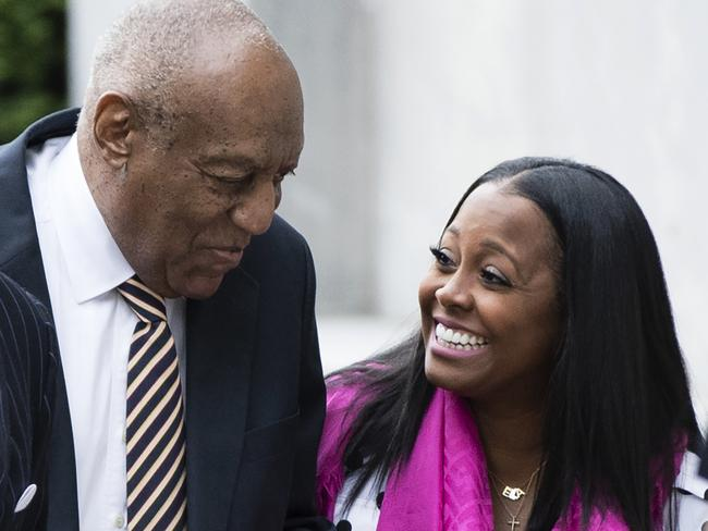 Bill Cosby arrives for his sexual assault trial at the Montgomery County Courthouse with Keshia Knight Pulliam. Picture: AP Photo/Matt Rourke