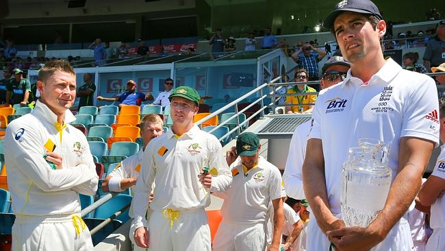 Australian captain Michael Clarke and England captain Alastair Cook on day one of the first Ashes cricket Test at the Gabba Cricket Ground.