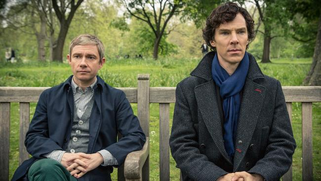 Hot show ... Martin Freeman and Benedict Cumberbatch in a scene from Sherlock. Picture: Supplied