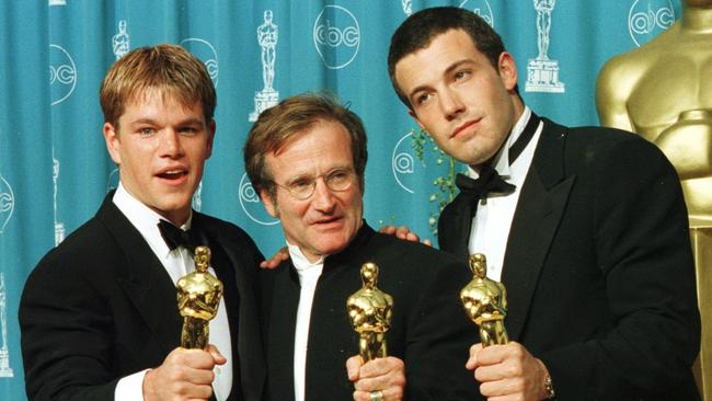 Devastated ... Robin Williams with Good Will Hunting co-stars Matt Damon and Ben Affleck.