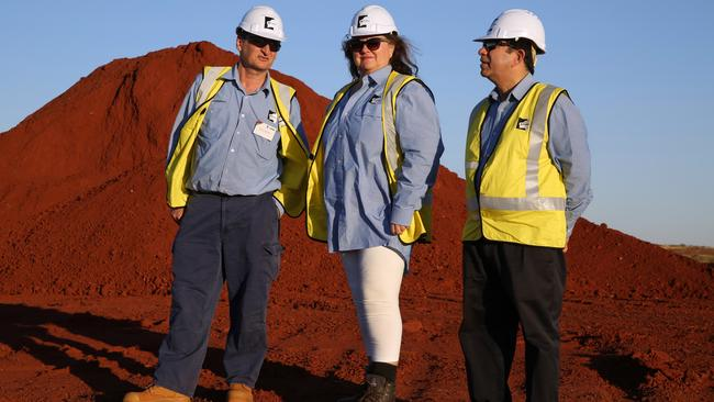 Gina Rinehart with Roy Hill CEO Barry Fitzgerald, left, and project manager Sanjiv Manchanda.