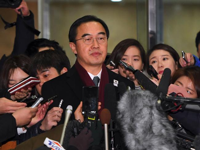South Korean Unification Minister Cho Myung-Gyun speaks to the media ahead of talks with North Korea. Picture: AFP/Jung Yeon-Je