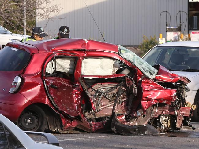 3 Car Fatal Collision on corner of Kings Road and Main North Road Parafield. 20 August 2017. (AAP Image/Dean Martin)