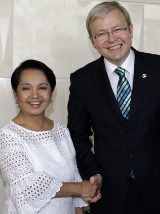 Former Australian Prime Minister Kevin Ruddand then-President of the Philippines Gloria Macapagal Arroyo in 2008. Picture: Supplied