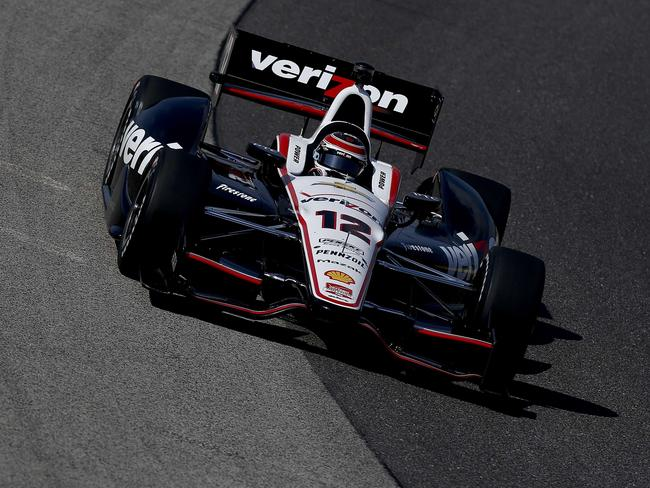 Will Power of Australia drives at the Milwaukee Mile on his way to pole.