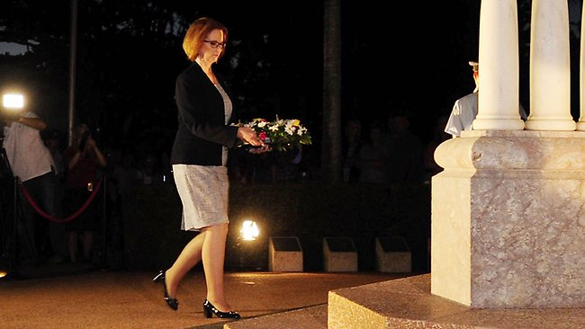 Julia Gillard lays a wreath during the dawn service in Townsville. Picture: Getty Images
