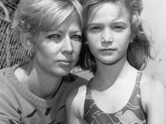 Peta and her mum pictured at the swimming carnival the day after Andy Gibb died.