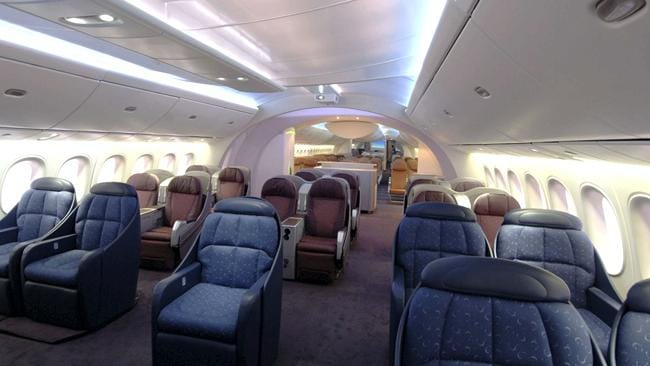 Inside the Boeing 787 Dreamliner. Picture: AFP, Boeing