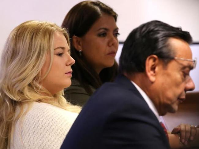 Cassie Sainsbury appears in a Bogota court for a hearing. Picture: Nathan Edwards