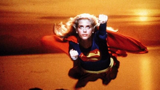 Helen Slater flying through air in Supergirl.
