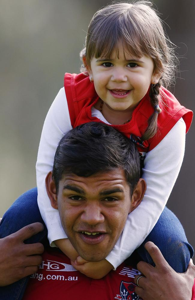 Melbourne defender Neville Jetta & daughter Nalani 3 Picture: Wayne Ludbey