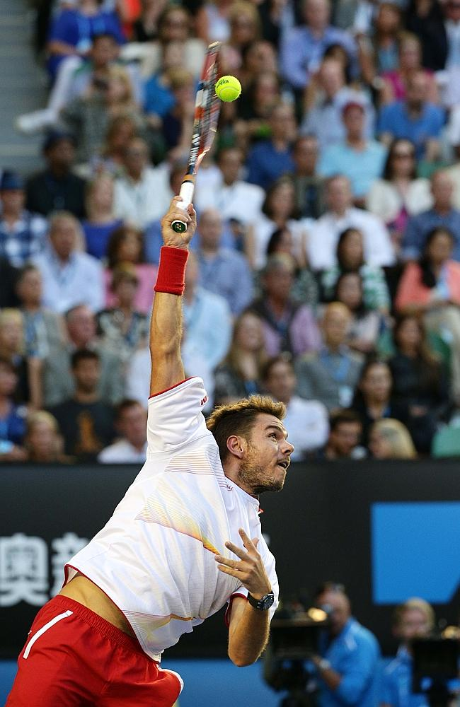 Stanislas Wawrinka lands a serve. Picture: Colleen Petch
