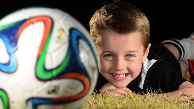 Liam Stam, 6, has kicked 100 goals so far this season — and there are still three matches to go. Picture: Tom Huntley