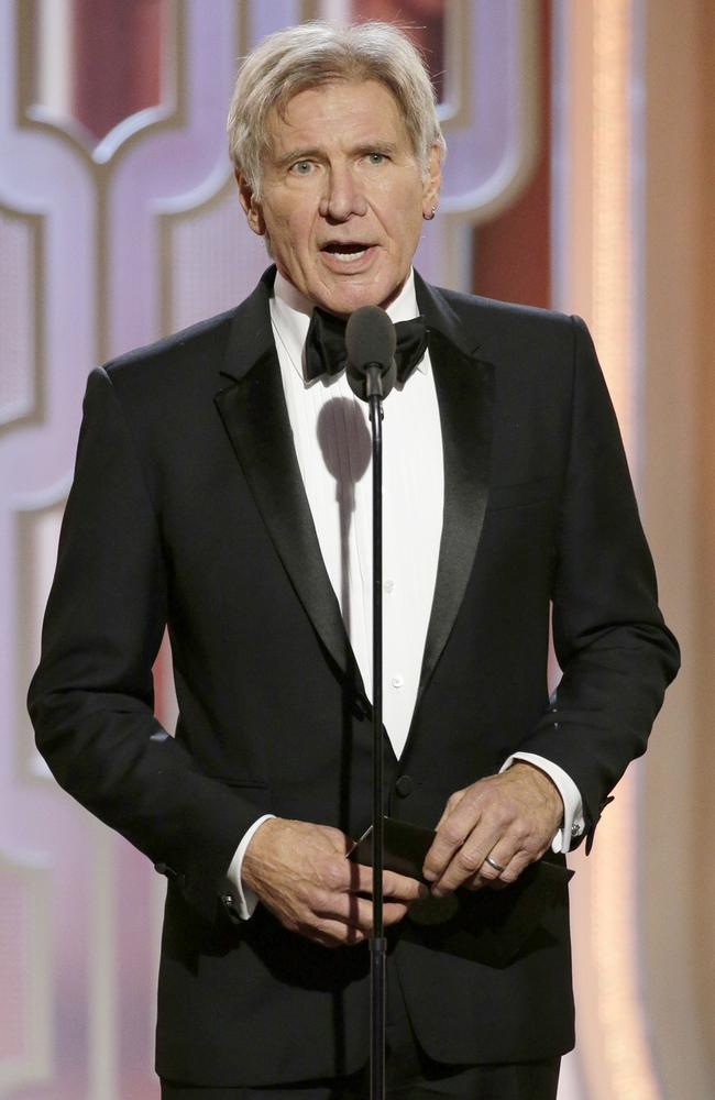 Presenter Harrison Ford onstage during the 73rd Annual Golden Globe Awards at The Beverly Hilton Hotel on January 10, 2016 in Beverly Hills, California. (Photo by Paul Drinkwater/NBCUniversal via Getty Images)