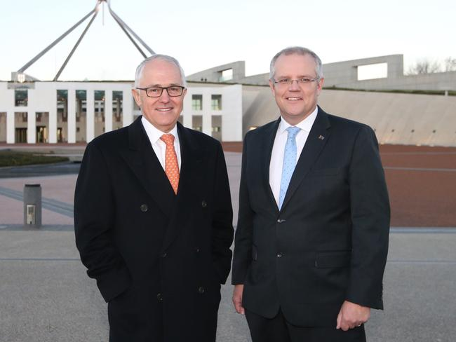 Malcolm Turnbull and Treasurer Scott Morrison out the front of Parliament House, Canberra. Picture: Kym Smith