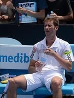 Germany's Florian Mayer feels the heat.