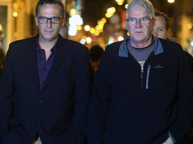Victims ... David Ridsdale (L) and Phil Nagle (R), two survivors of abuse by Catholic clergy in Australia arrive at the Quirinale hotel in Rome. Picture: AFP
