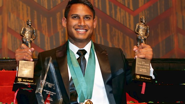 Ben Barba with all the awards he picked up at the 2012 Dally M Award. Picture: Gregg Porteous