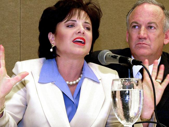 "Patsy and John Ramsey at a May, 2000 press conference on the results of lie detector tests they took, which were ""inconclusive""."