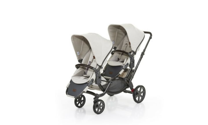 <b>ABC Design Zoom – RRP $1,399</b> <p></p> <p><i>Choose this if you want a pram that's versatile.</i></p> <p></p> <p>This is a narrow, lightweight pram with many different combinations to suit your needs over time. You can use it as a tandem (one in front, one behind) pram, turn one seat around to face you wile the other faces out, or even switch the seats so your children face each other. It's suitable for two newborns, a toddler and newborn or two toddlers. You'll love the single-width of this double pram, however it's a long pram and that can take some getting used to. Once you do, you'll find the pram easy to manage (it can swivel 360 degrees on the spot).</p>