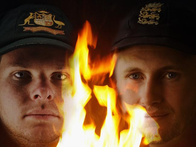 FILE PHOTO (EDITORS NOTE: GRADIENT ADDED - COMPOSITE OF THREE IMAGES - Image numbers (L-R) 494870026, 1801824 and 809129220) In this composite image a comparison has been made between Steve Smith, captain of Australia (L) and Joe Root, captain of England. The two teams will compete in the upcoming 2017/18 Ashes Test Match series. The first match of the series starts at The Gabba on November 23, 2017 in Brisbane, Australia.  ****LEFT IMAGE*** SYDNEY, AUSTRALIA - OCTOBER 19: Steve Smith and David Warner of Australia pose during an Australian Test Cricket Portrait Session on October 19, 2015 in Sydney, Australia. (Photo by Ryan Pierse/Getty Images) *** MIDDLE IMAGE *** BRIGHTON - AUGUST 16: Cricket idents taken during a photshoot held on August 16, 2002, in Brighton, England. (Photo by Mike Hewitt/Getty Images) *** RIGHT IMAGE*** LONDON, ENGLAND - JULY 05: England captain Joe Root poses for a portrait in the Lord's Long Room ahead tomorrow's test match against South Africa at Lord's Cricket Ground on July 5, 2017 in London, England. (Photo by Gareth Copley/Getty Images)