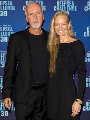 James Cameron and Suzy Amis Cameron attend the official launch of Deepsea Challenge 3D in Sydney. Picture: Getty