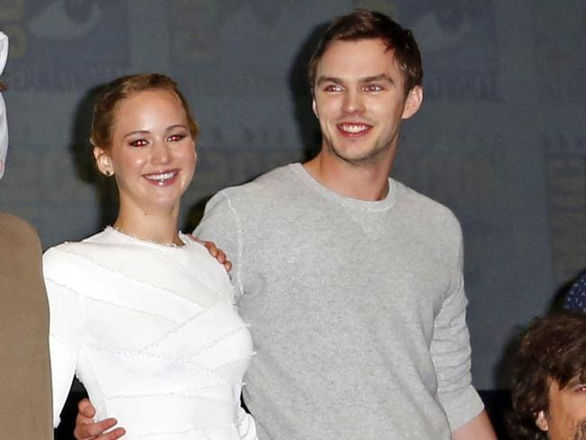 Jennifer Lawrence and Nicholas Hoult attend the X-Men: Days of Future Past panel.